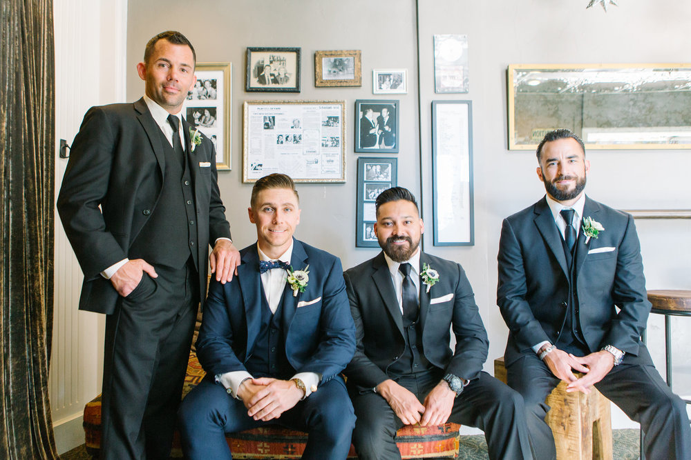 San Clemente, San clemente beach wedding, the casino san clemente, wedding party photos, navy groom suit, navy groomsmen suit, anemone groom boutonniere