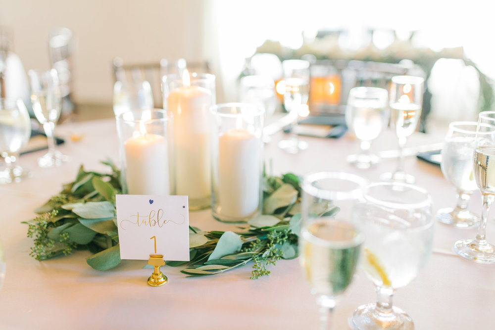 San Clemente, San clemente beach wedding, the casino san clemente, candle votive centerpiece, minimalist wedding design, green and gold wedding, eucalyptus garland centerpiece