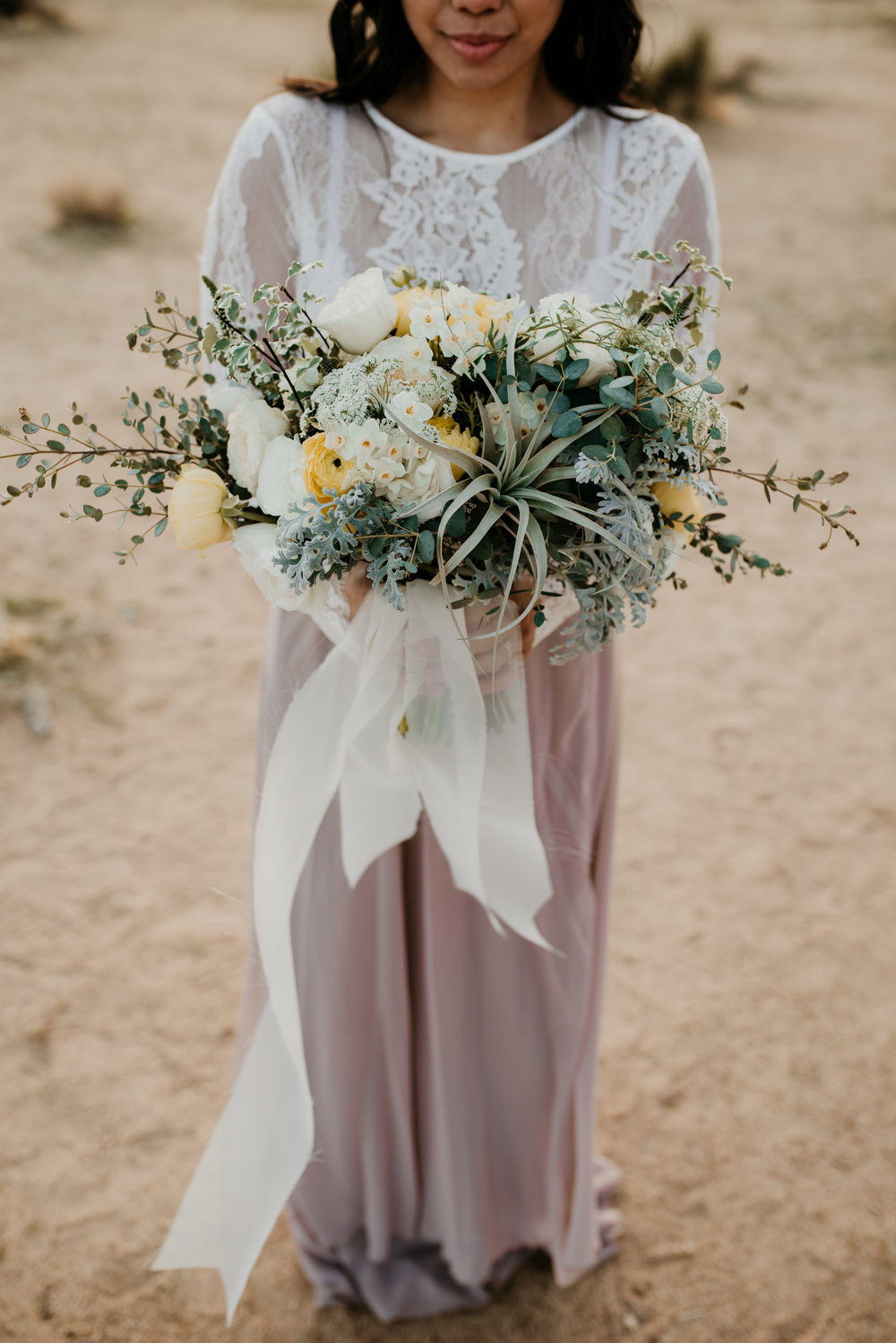 Joshua Tree, Joshua Tree wedding, Joshua tree elopement, desert elopement, airplant bouquet, 10 year anniversary, anniversary photo shoot, daffodil bouquet, yellow bridal bouquet