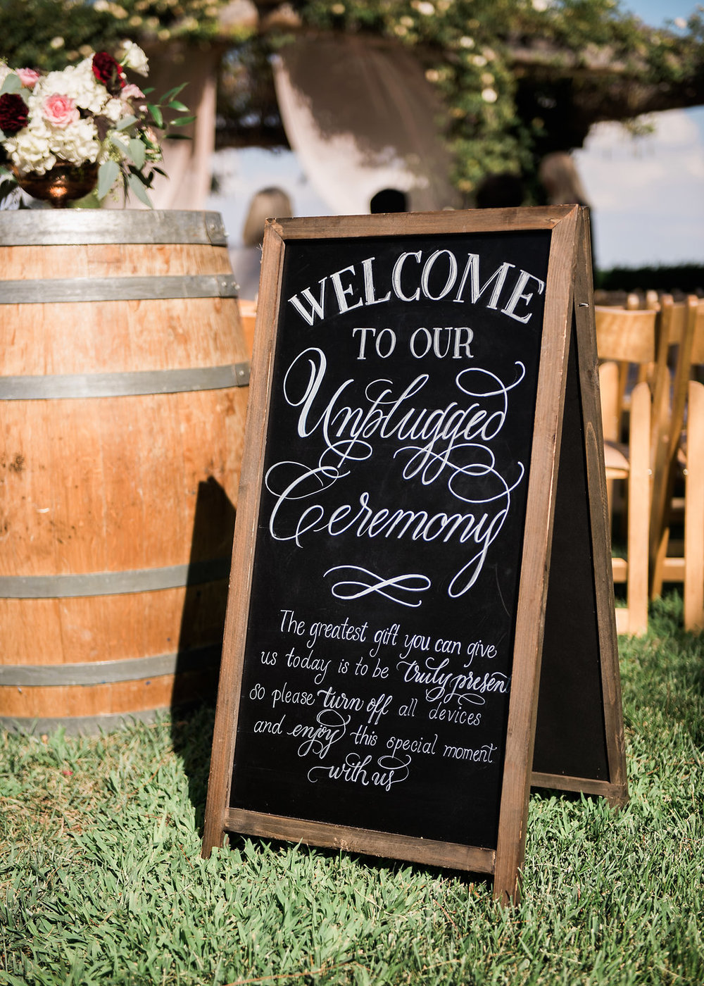 Unplugged Ceremony Sign South Coast Winery Wedding