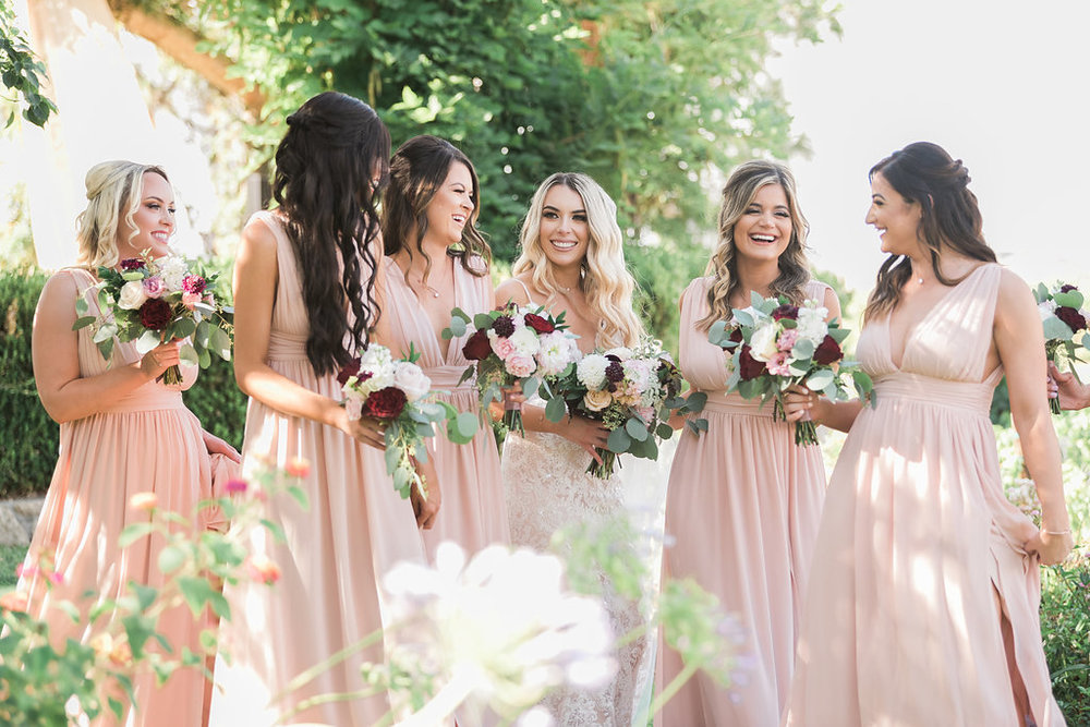 Bridal Party Blush Dress Bridesmaid Bouquets
