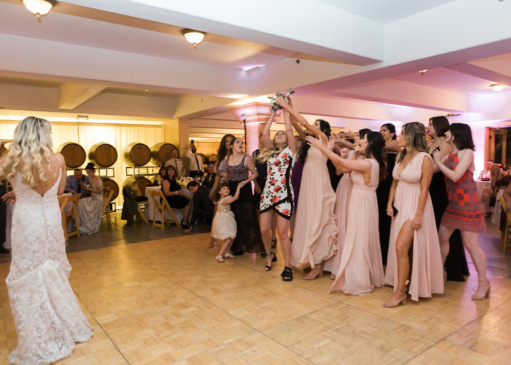 Bouquet Toss South Coast Winery Wedding