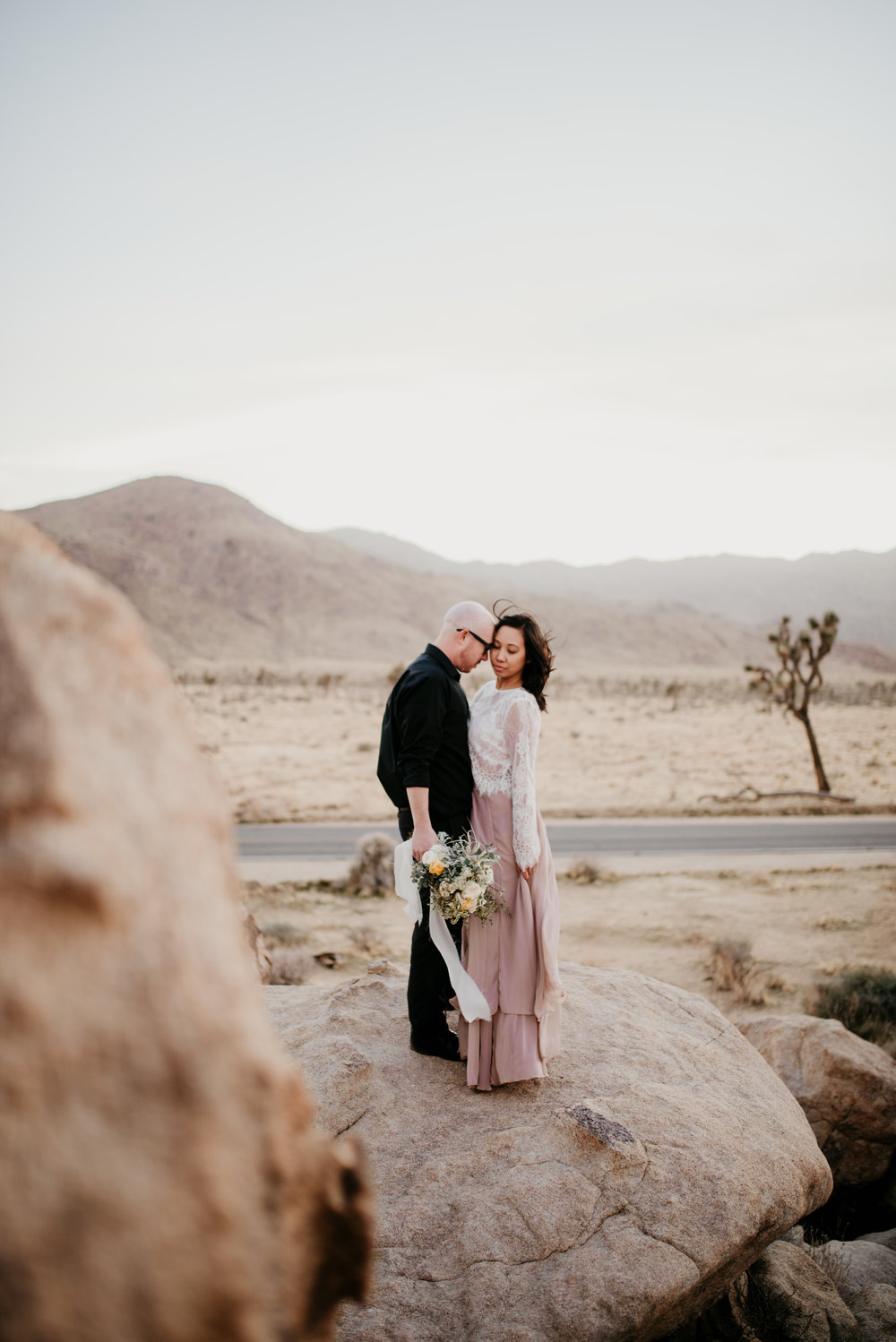 Joshua Tree, Joshua Tree wedding, Joshua tree elopement, desert elopement, airplant bouquet, 10 year anniversary, anniversary photo shoot