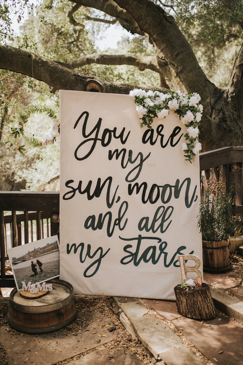 You are my sun moon and all my star sign, The 1909, The 1909 Wedding, Topanga Canyon Wedding, wedding welcome sign ideas