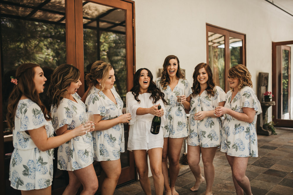 The 1909, The 1909 Wedding, Topanga Canyon Wedding, bridal party champagne, pop the champagne, bridal party getting ready photos