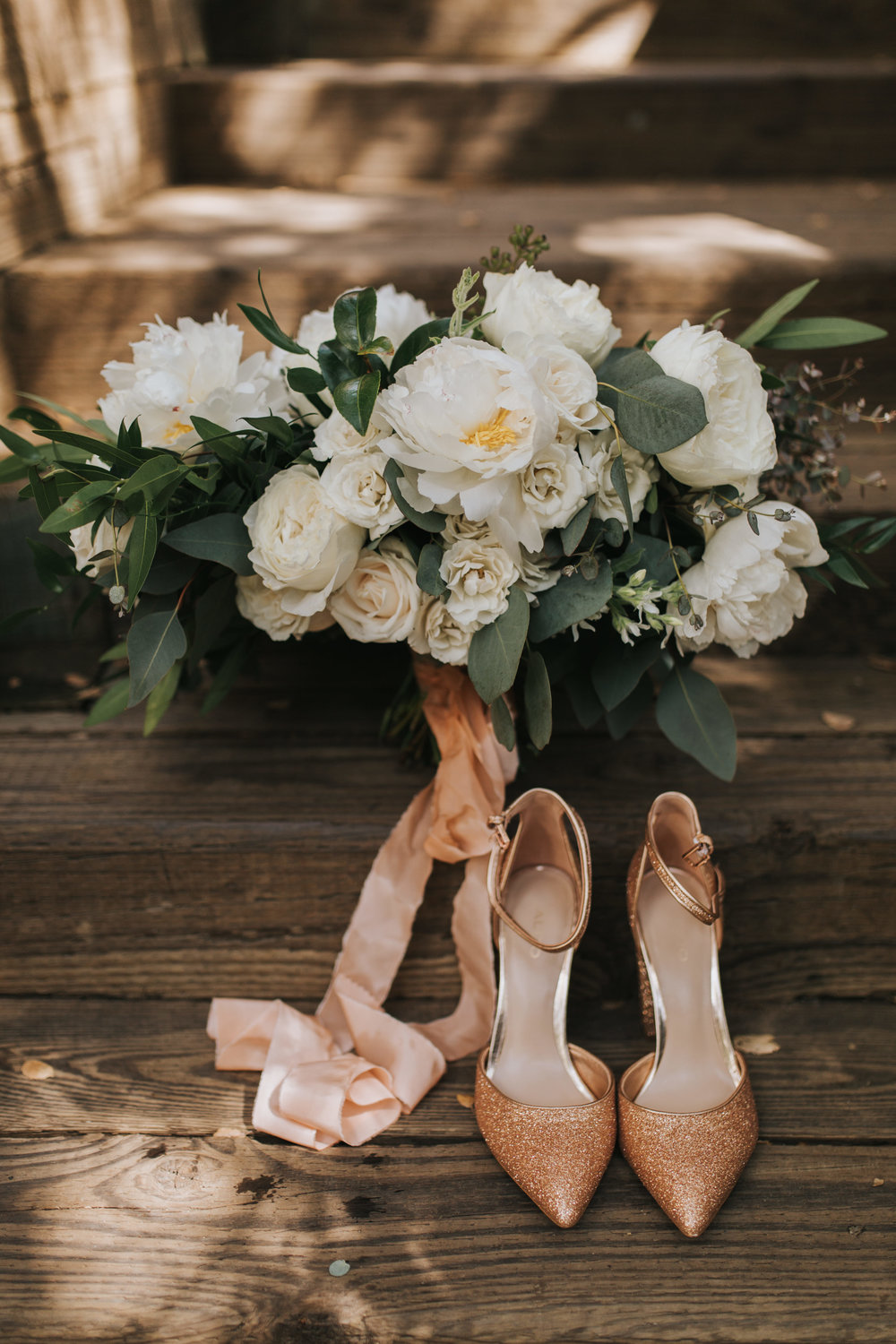 The 1909, The 1909 Wedding, Topanga Canyon Wedding, white peony bridal bouquet, eucalyptus bridal bouquet, peach silk ribbon, blush silk ribbon, blush glitter wedding shoes, white spray rose bouquet