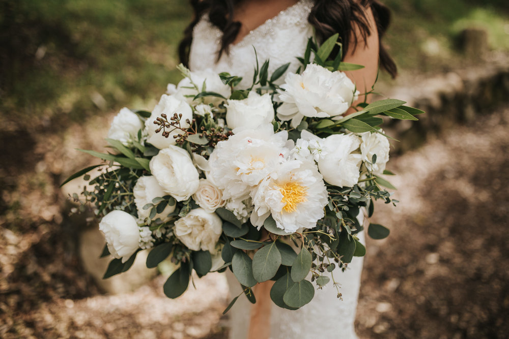 The 1909, The 1909 Wedding, Topanga Canyon Wedding, white peony bridal bouquet, eucalyptus bridal bouquet, peach silk ribbon, blush silk ribbon, white spray rose bouquet