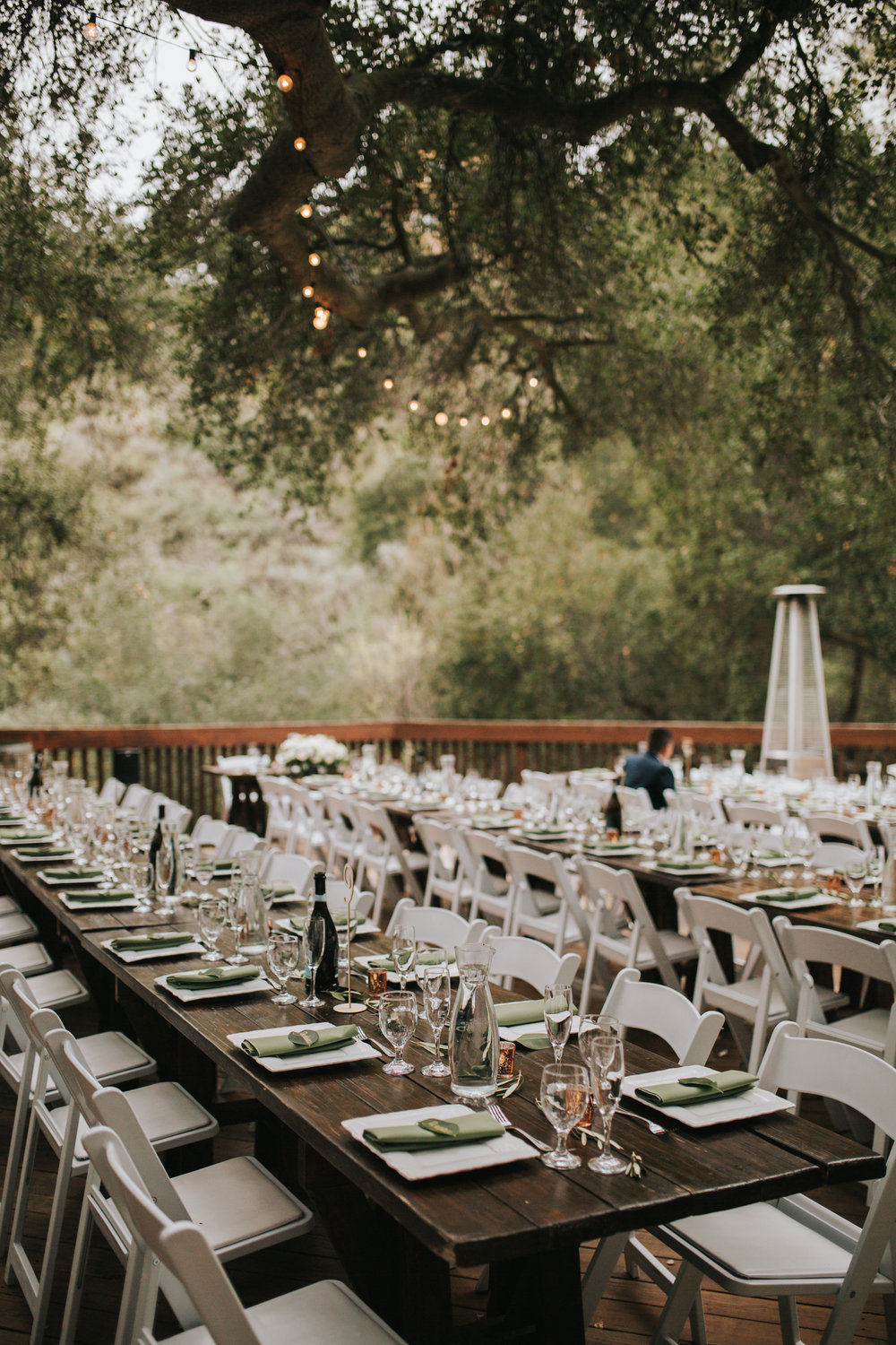 The 1909, The 1909 Wedding, Topanga Canyon Wedding, wood farm tables wedding, wedding reception farm table, minimalist wedding design, simple olive greenery on tables