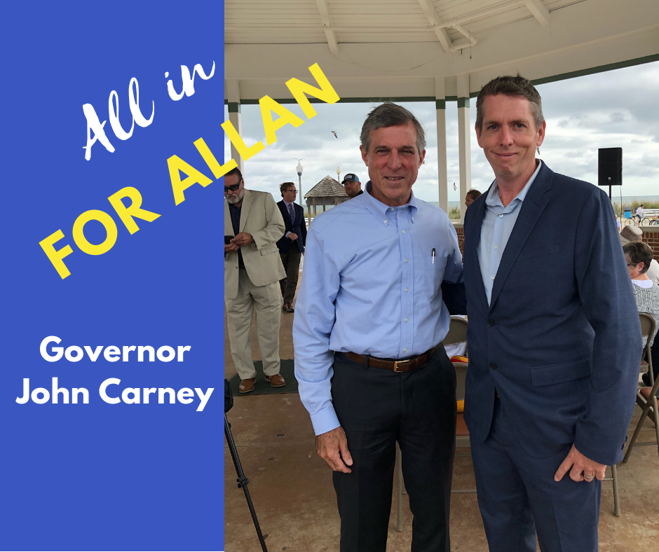 I've gotten to know Don Allan over the past few months of his campaign, and I've been consistently impressed with his passion toward the issues that affect his community and the 36th Representative District. As a second-generation carpenter, Don understands how important it is to support Delawareans through good paying, middle class jobs. And he and I share a commitment to make sure every child, no matter where they live, has a chance to be successful in our state. Don has the tenacity to make positive change in his district, and I'm looking forward to working with him in Dover.