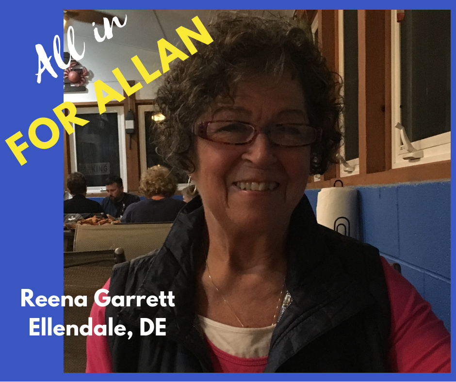 """I'm a resident of Ellendale, Sussex County, DE. I was a professional businesswoman, though I'm now retired.  I'm supporting Don Allan for State house of Representative for District 36. I share his values and concerns for our District.   He's taken a strong stand on our real concerns for our water quality as well as environmental issues.  He's a strong advocate for equal rights of all citizens regardless of their gender, sexual orientation, or socio-economic status.  He believes income levels for the middle class need to be reflective of their hard work in a more equitable ways.  He believes funds for education needs should be more balanced for schools in our district.  He is fighting for our district to be strongly represented with these and many issues in the House."""""""