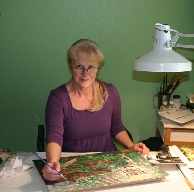Artist Jacquie Vaux - Working in her Studio