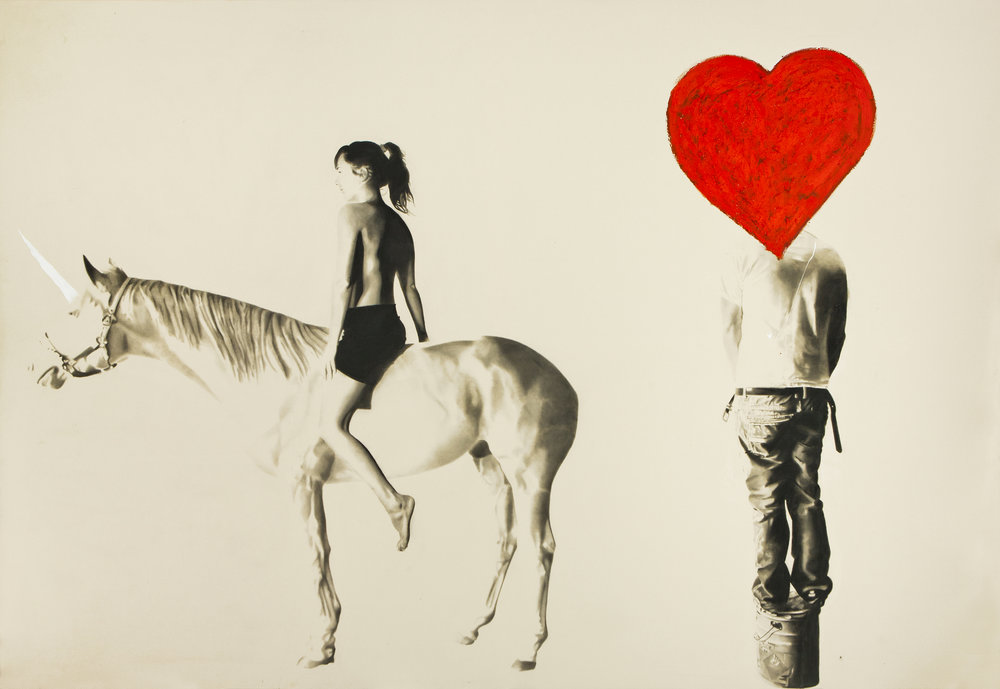 My little Pony (Jim Dine Head) , 2012, Huile et fusain.