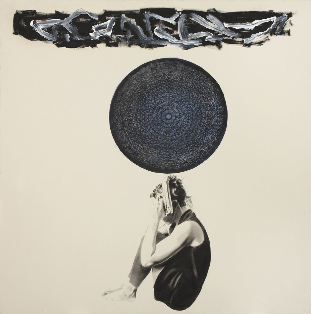 Blue Karma , 2012. Huile et fusain.