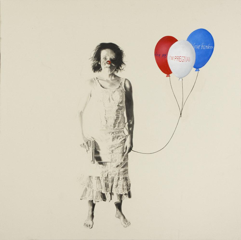 Occupy me (self portrait),2012. Huile et fusain sur toile. 78 x 78 pouces.