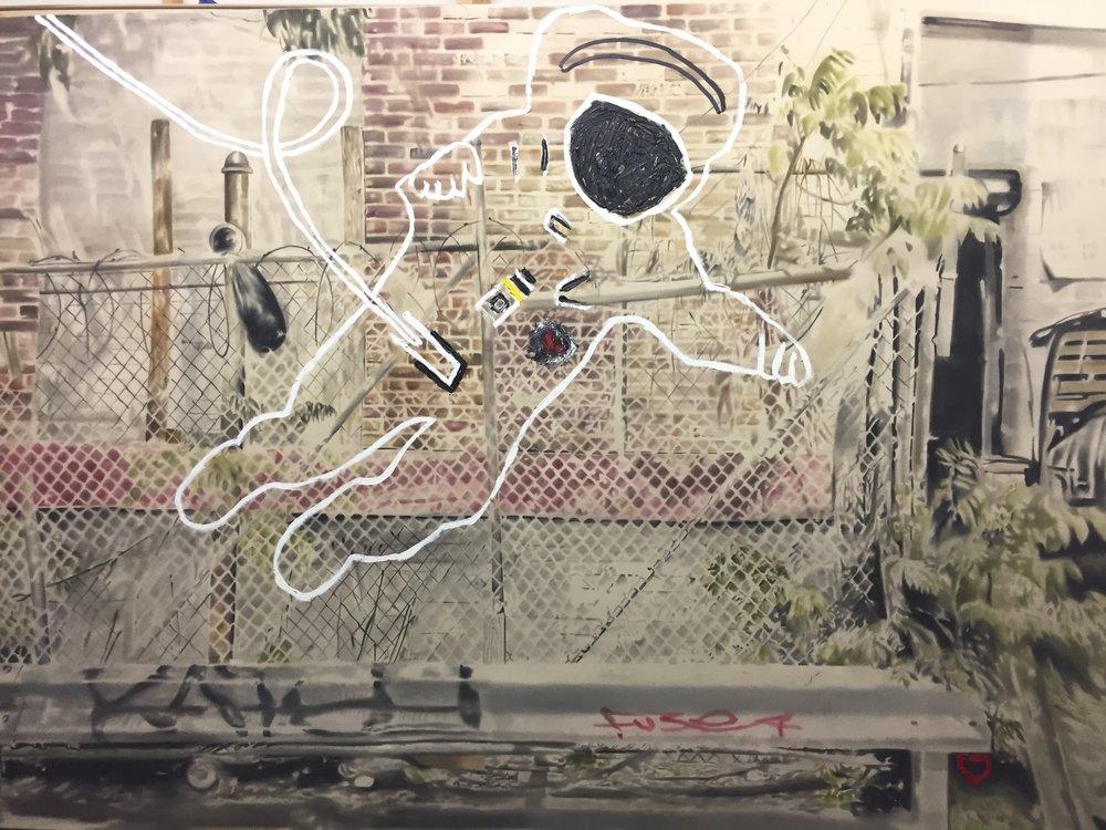 Astronaute sur Meserole no. 2 ,2011-2012. Huile sur toile. 78 x 108 pouces.
