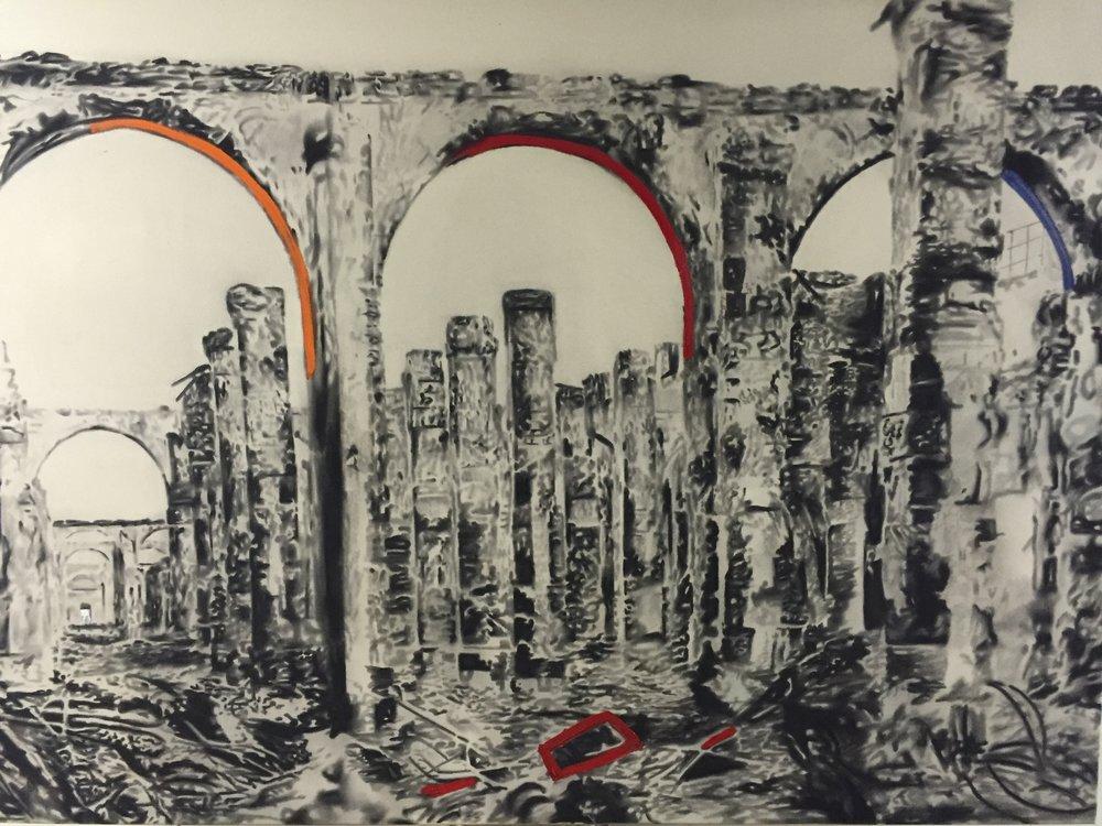 Ruines 3 Arches, 2010. Huile et fusain sur toile. 60 x 84 pouces.
