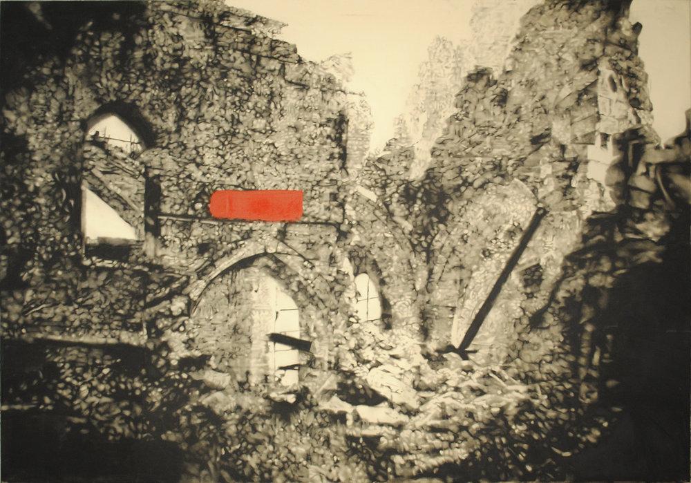 Ruins Sarajevo,2011. Huile et fusain sur toile. 60 x 80 pouces.