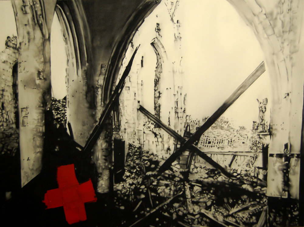 Ruin red cross , . Huile et fusain sur toile.