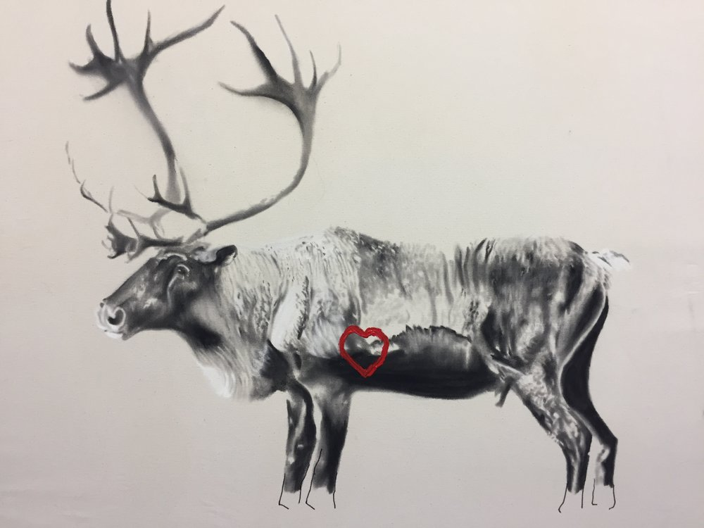 Study for caribou, 2016. Huile et fusain sur toile. 36 x 48 pouces.
