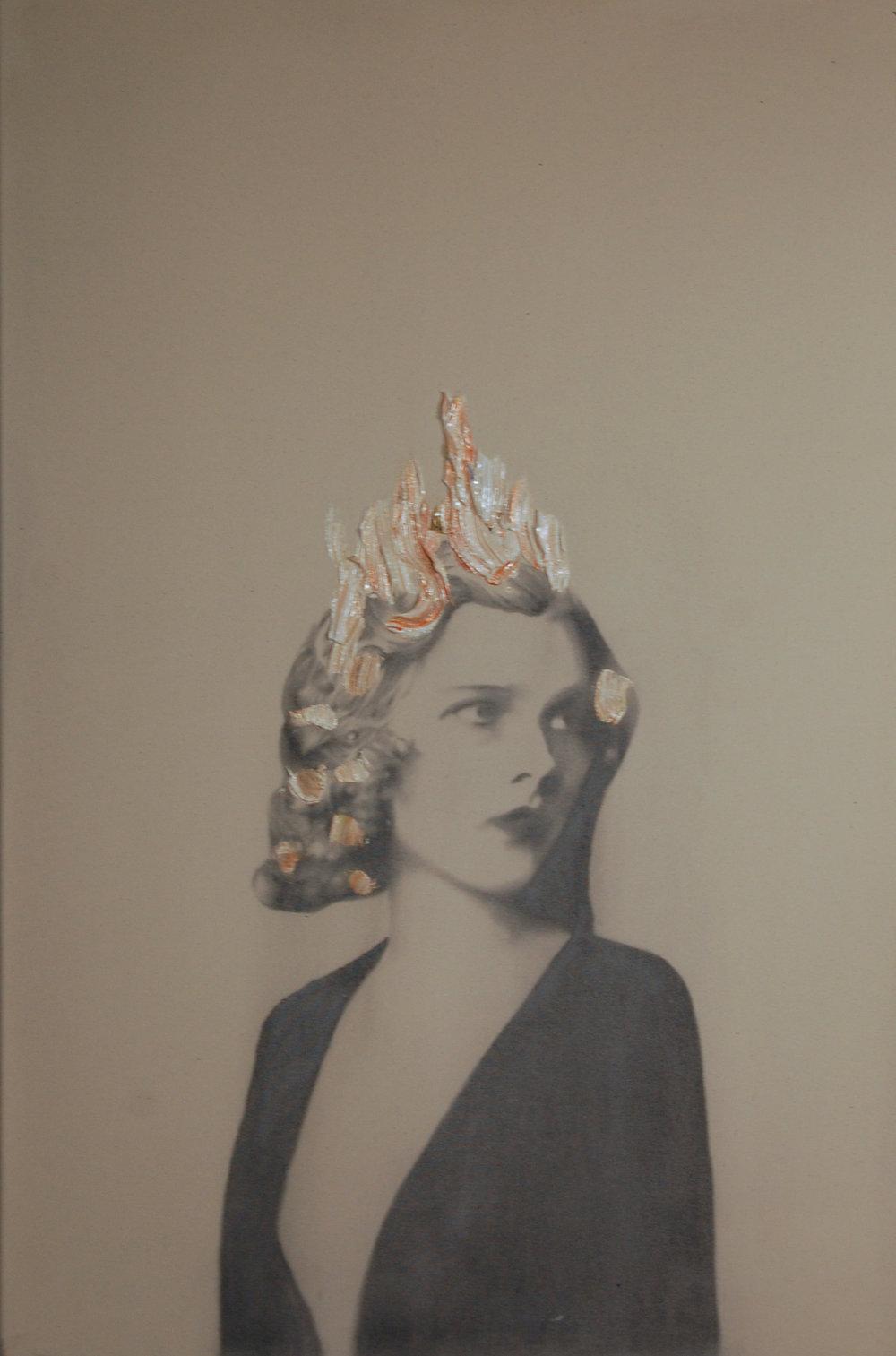 Eva 2 (my wife) , 2011. Huile et fusain sur toile. 36 x 24 pouces.