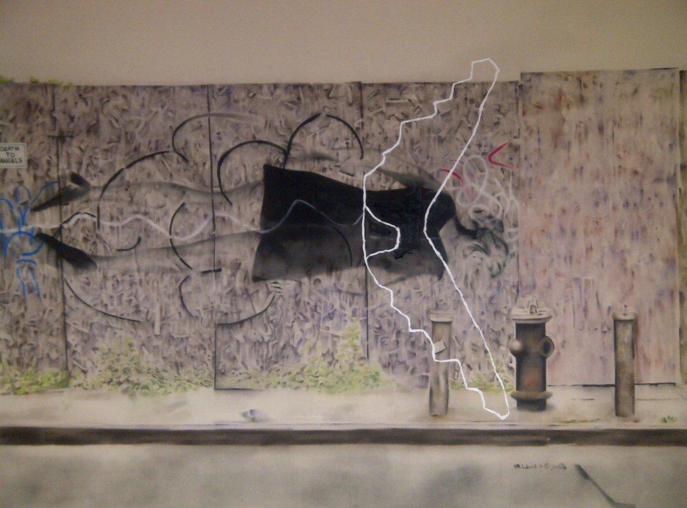 Death to Angels ,2013. Huile et fusain sur toile. 78 x 108 pouces.