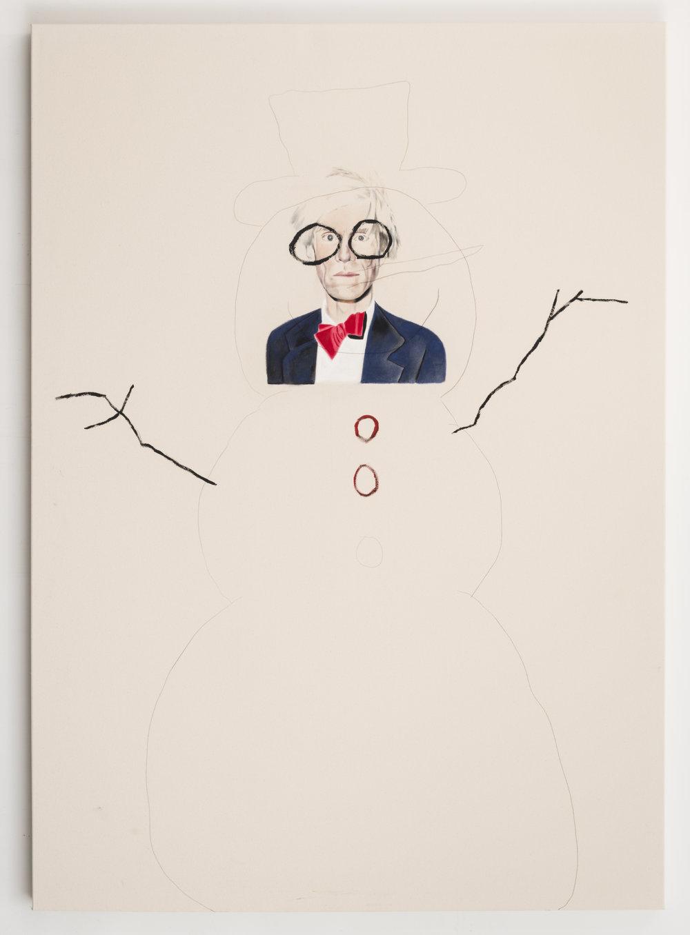 Andy ,2014. Huile et fusain sur toile. 84 x 60 pouces.