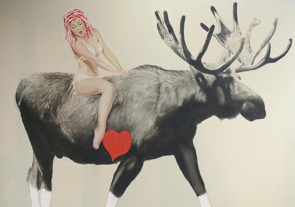 Moose + Pin-Up , 2015. Huile et fusain sur toile.