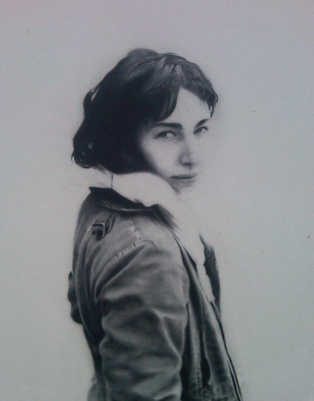 Portrait S ., 2011. Huile et fusain sur toile. 36 x 24 pouces.