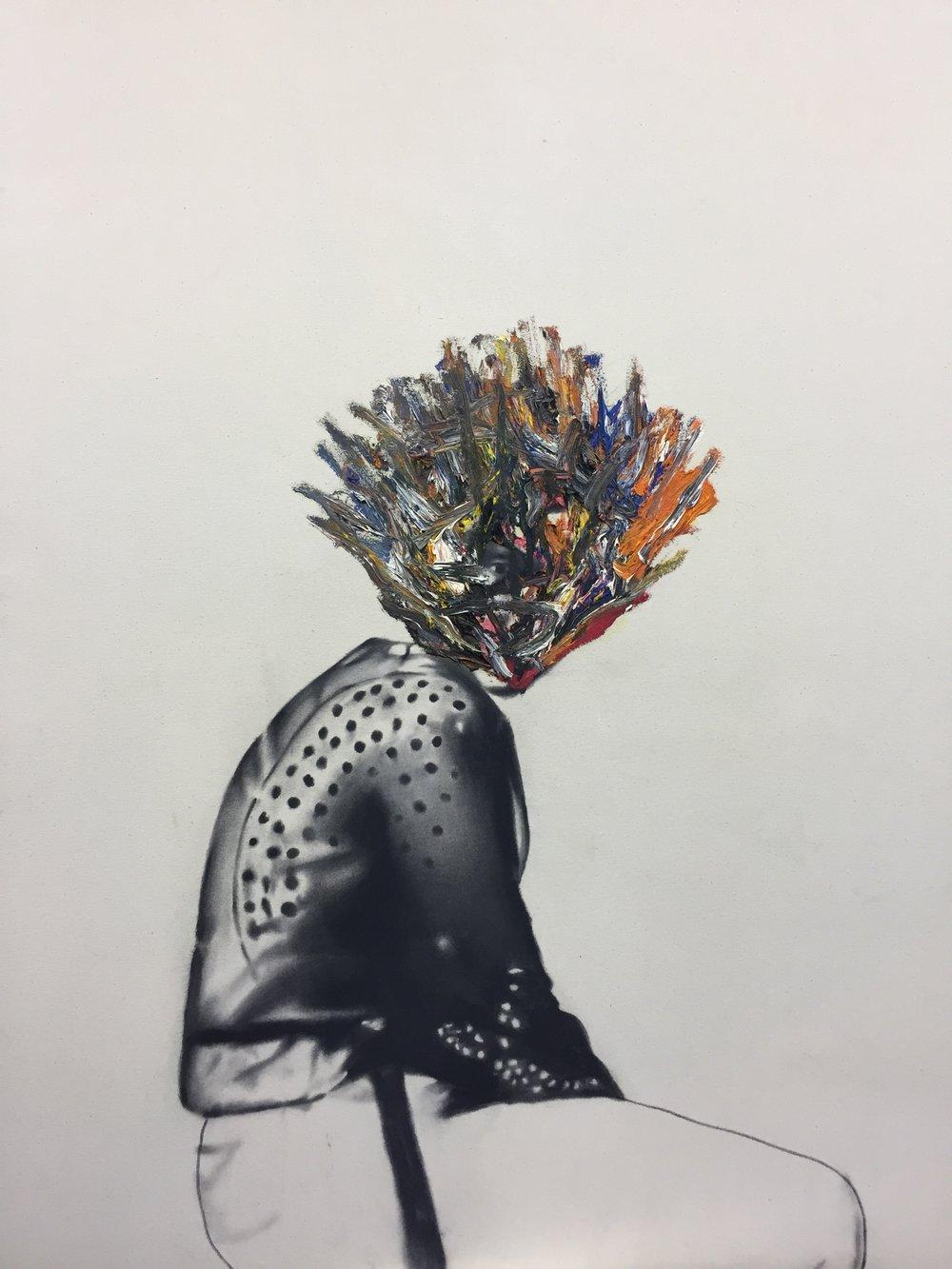 Femme assise , 2009.Huile et fusain sur toile.36 x48 pouces.
