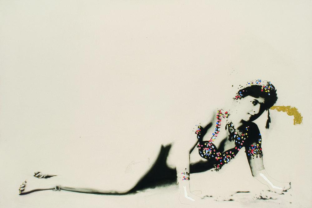 Mata Hari, 2010. Huile et fusain sur toile.