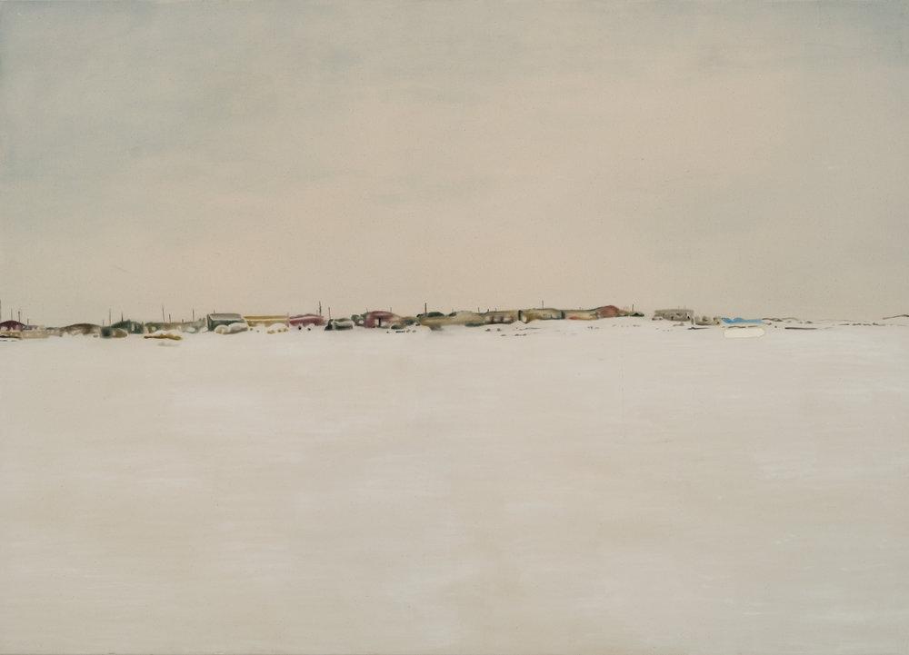 Paysage nordique 3 , 2016. Huile et fusain sur toile, 60 x 84 pouces