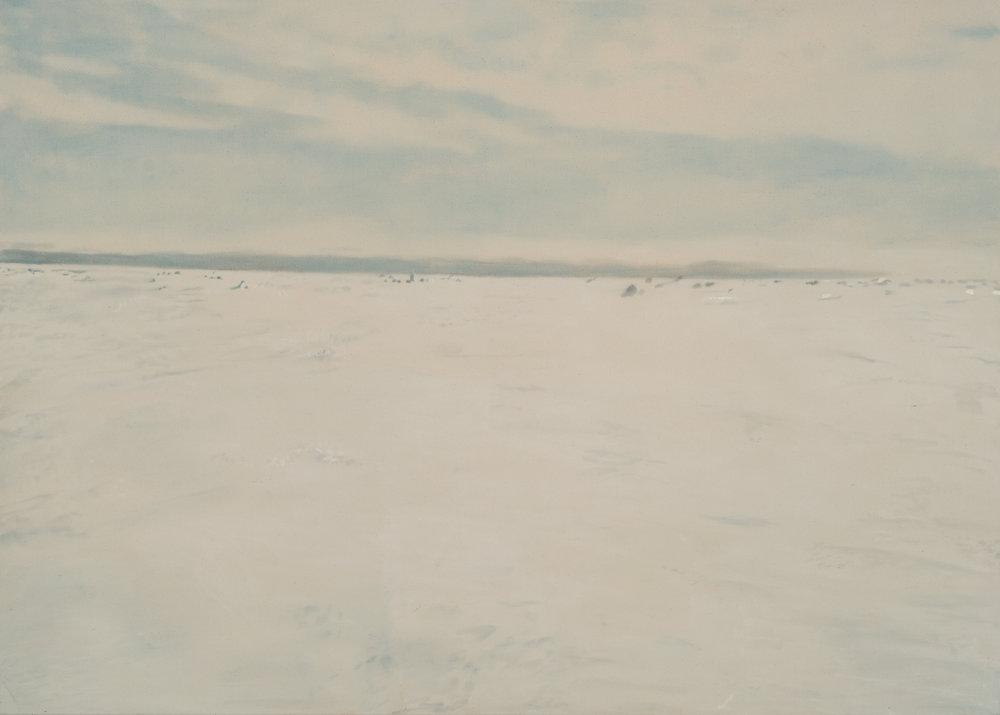Paysage nordique 4 , 2016. Huile et fusain sur toile, 60 x 84 pouces