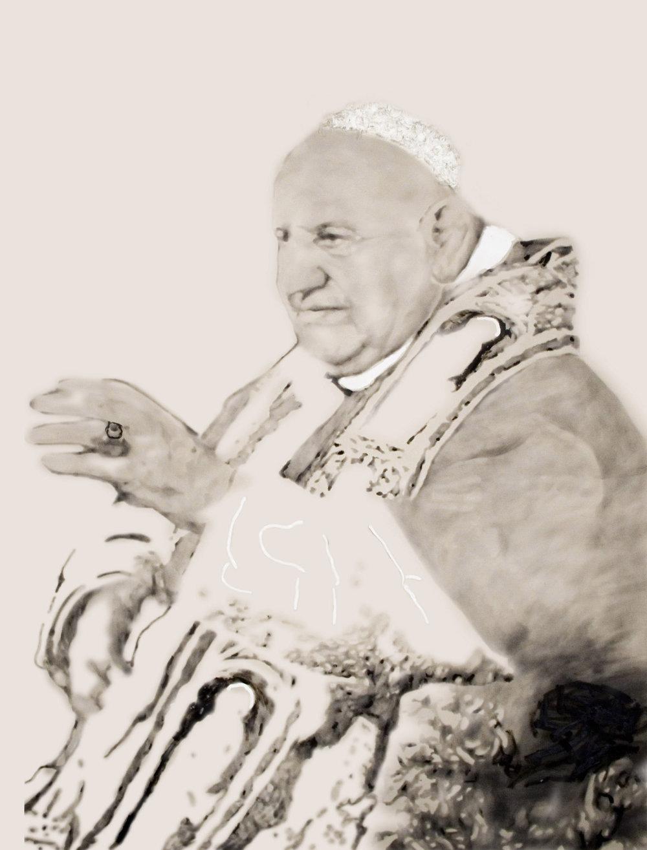 Joannus XXIII , 2008. Huile et fusain sur toile