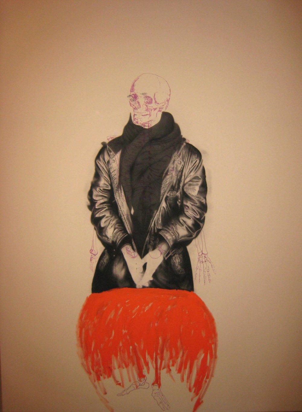 Autoportrait , 2009. Huile et fusain sur toile, 120 x 150 cm.