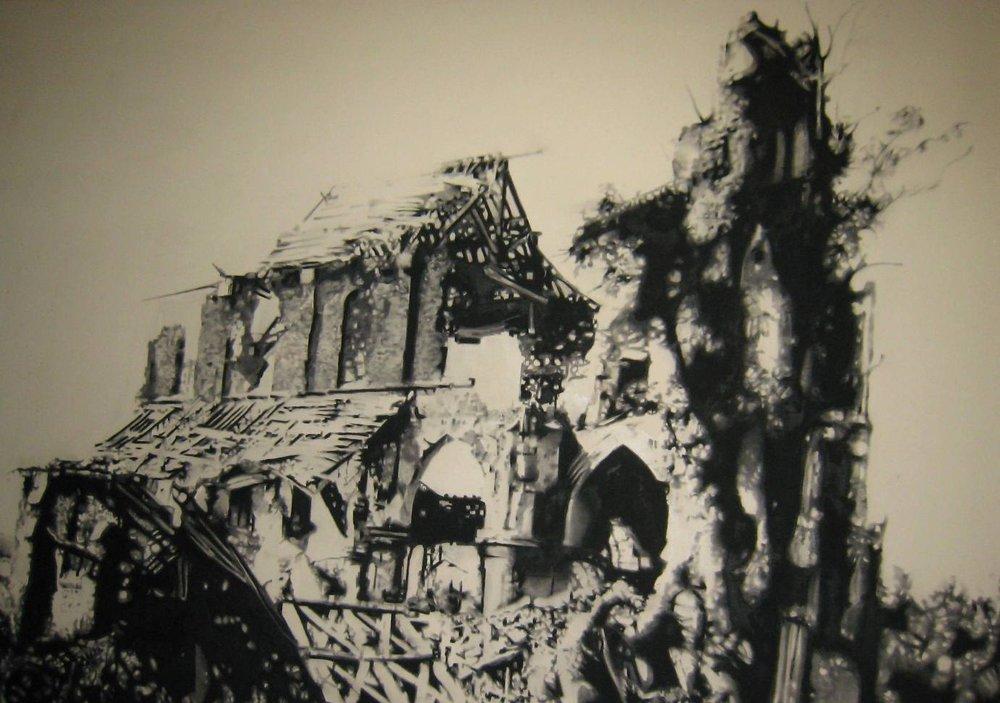 Ruine 1 , 2010. Huile et fusain sur toile.