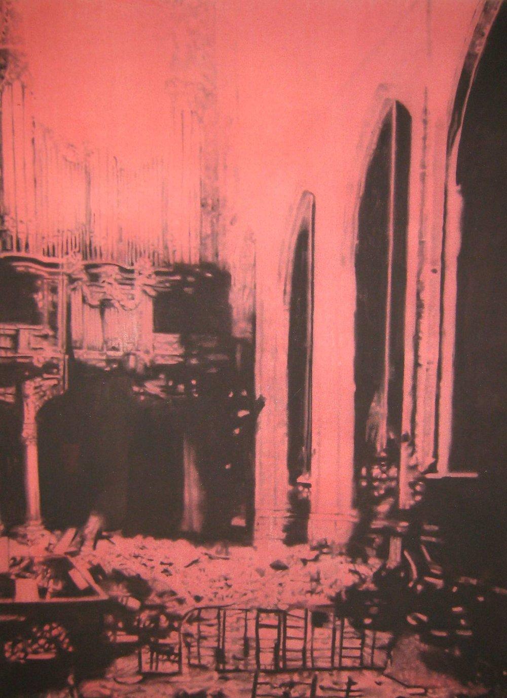 Ruines ,2010. Huile et fusain sur toile.