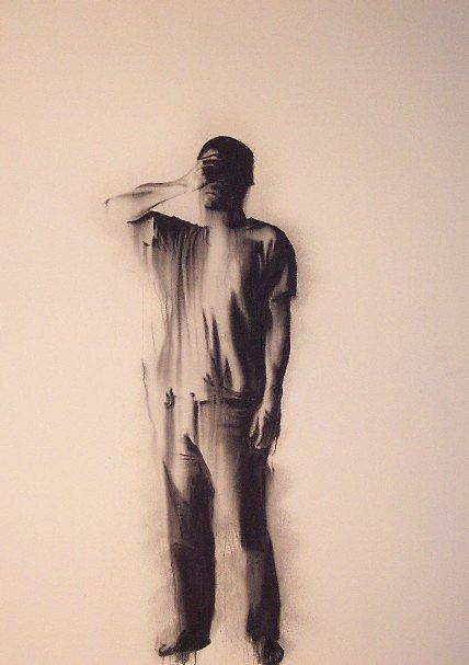 Autoportrait en déni , 2002. Huile sur toile. 84 x 60 pouces.