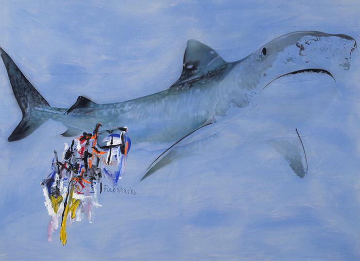 Fuck Sharks, 2014.Huile et fusain,78 x 108 pouces.