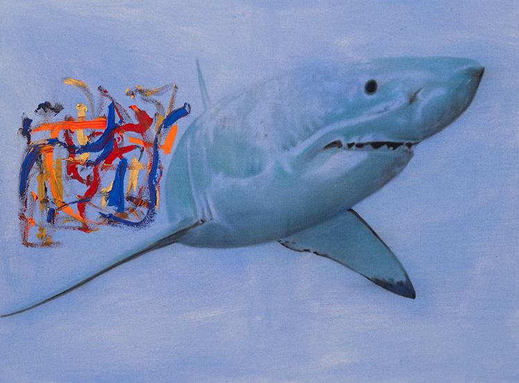 Study for Fuck Sharks ,2014.Huileet fusain,36 x 48 pouces.