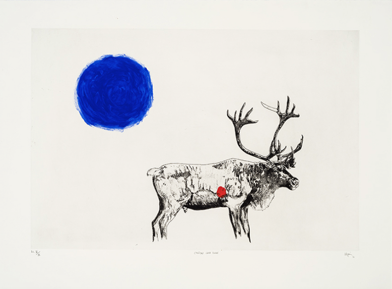Caribou (lune bleue), 2017 . Eau-forte rehaussée à la main. Ed /20.