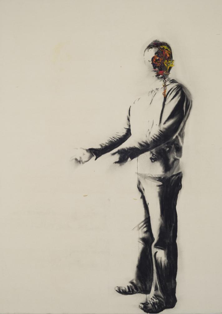 Autoportrait avec rien , 2008. Huile et fusain,212 x 175cm.