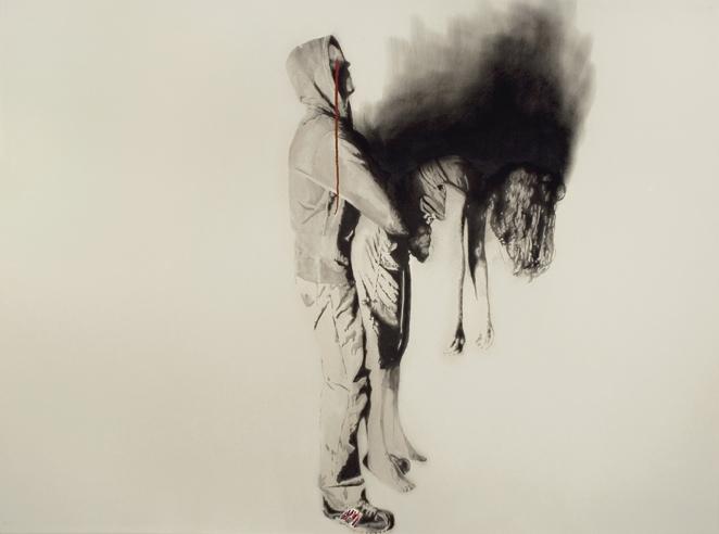 Bride burning , 2007. Huile sur toile,80 x 108 pouces.