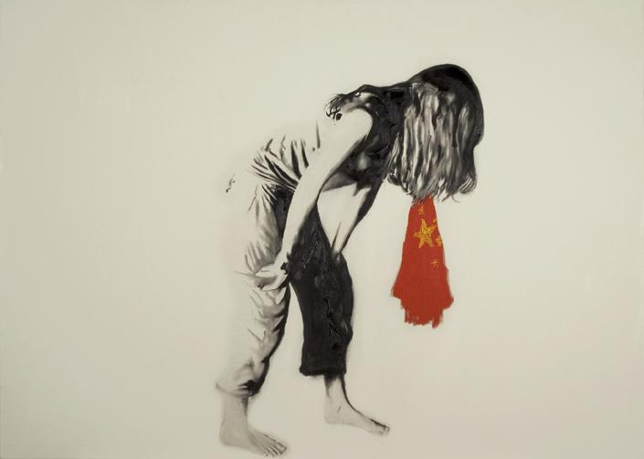 Flag eater , 2007. Huile sur toile,60 x 84 pouces.