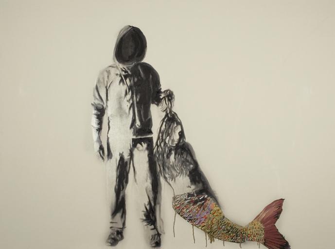 Mermaid , 2007. Huile sur toile,80 x 108 pouces.