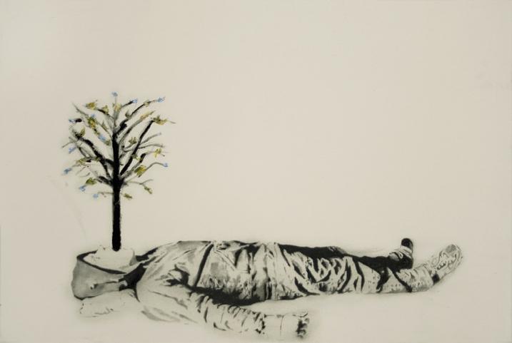 Prayer 3 , 2007. Huile et fusain sur toile. 24x36 pouces.