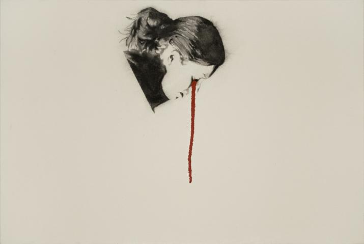 Study for Flag Eater ,2007. Huile et fusain sur toile,151 x 212 cm.