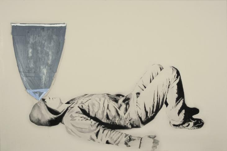Warhead , 2007. Huile et fusain sur toile,48 x 72 pouces.