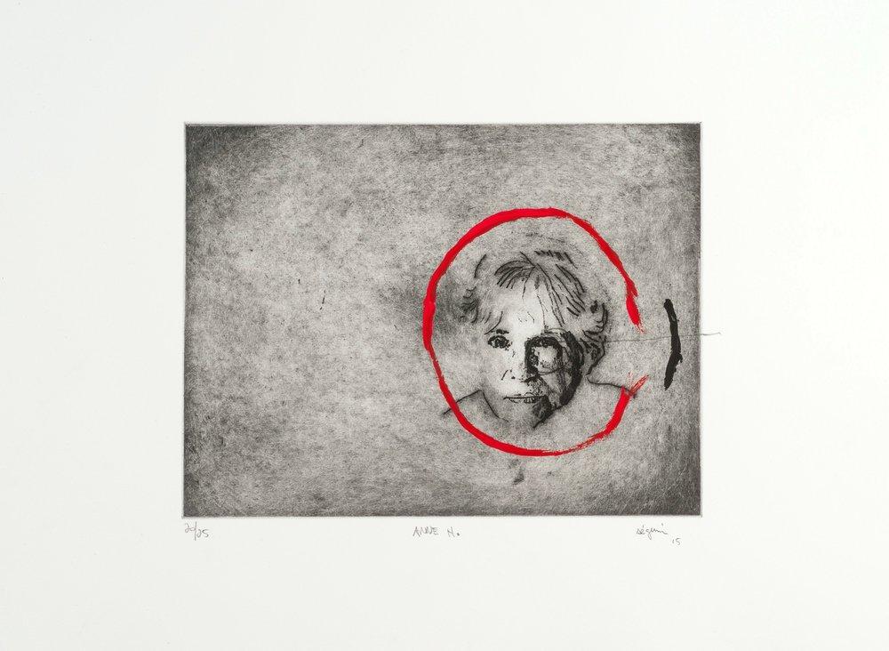 Anne Hébert , 2015. Eau-forte rehaussée à l'acrylique. Édition de 25.