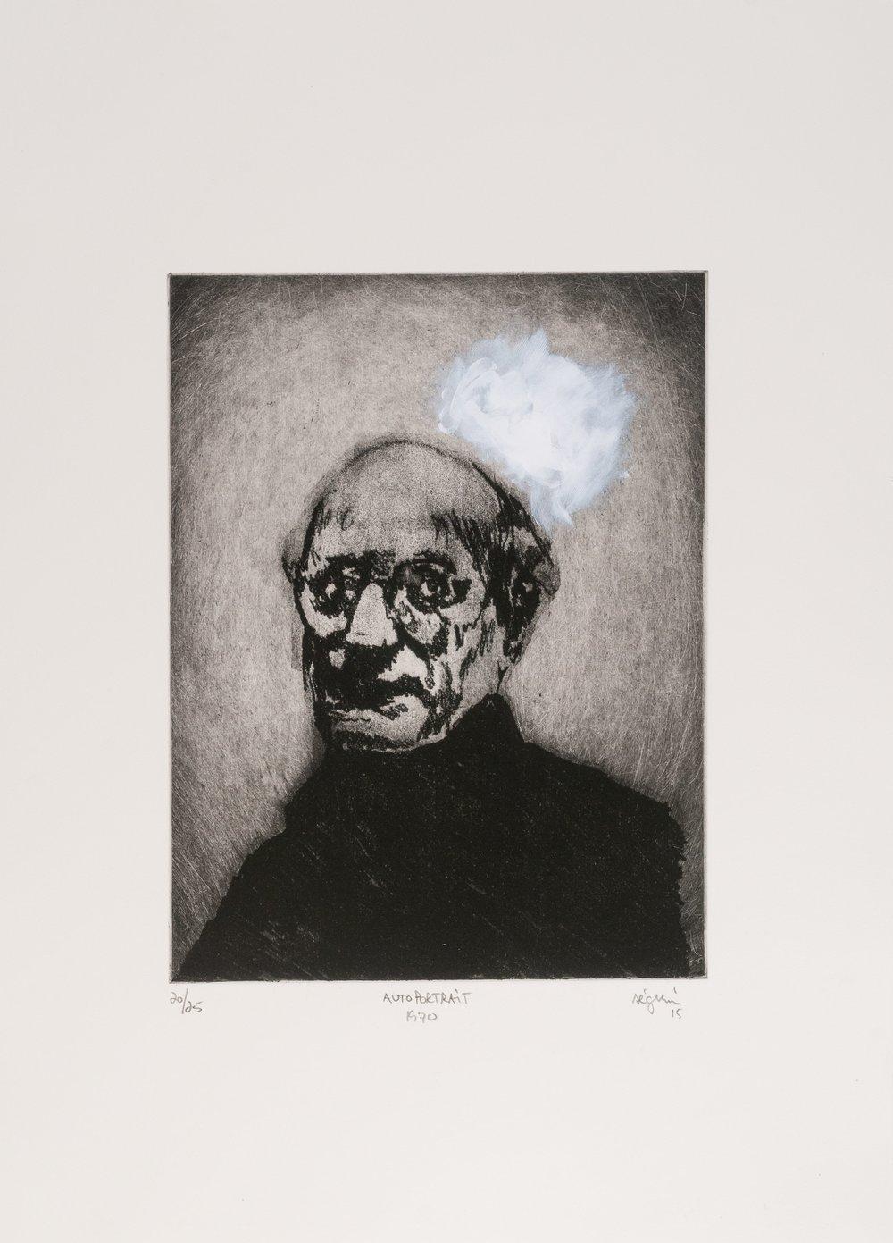 Autoportrait 1970 (Mark Rothko) , 2015. Eau-forte rehaussée à l'acrylique. Édition de 25.