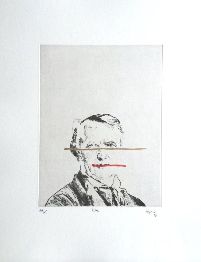R.W. (Richard Wagner) , 2016. Eau-forte rehaussée à l'acrylique et graphite. Édition de 25.
